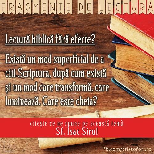 Lectură biblică fără efecte?